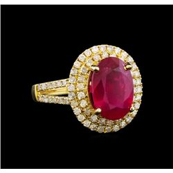 14KT Yellow Gold 4.25 ctw Ruby and Diamond Ring