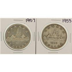 Lot of 1953 & 1957 $1 Canada Silver Dollar Coins