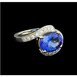 3.60 ctw Tanzanite and Diamond Ring - 14KT White Gold