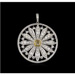 4.59 ctw Diamond Pendant - 18KT White Gold