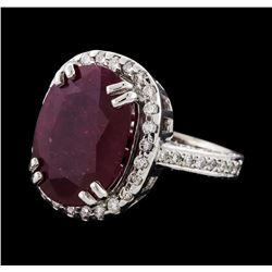 8.28 ctw Ruby and Diamond Ring - 14KT White Gold