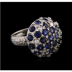 14KT White Gold 3.55 ctw Sapphire and Diamond Ring