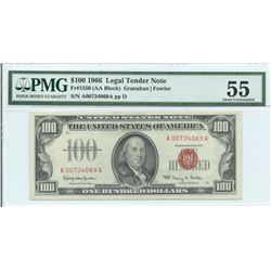 1966 $ 100 Legal Tender Note PMG About Uncirculated 55