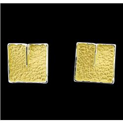 Square Matte Earrings - Gold Plated