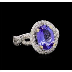 14KT White Gold 2.81 ctw Tanzanite and Diamond Ring