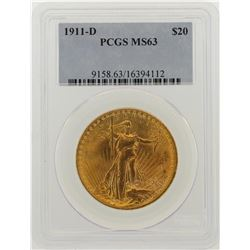 1911-D $20 St. Gaudens Double Eagle Gold Coin PCGS MS63