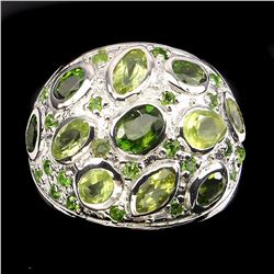Natural Green Peridot & Chrome Diopside Ring