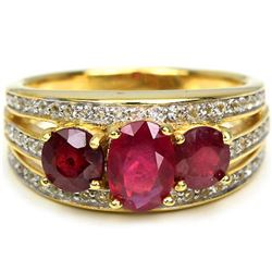 Genuine Red Ruby Two Tone Ring