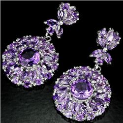 NATURAL PURPLE AMETHYST MARQUISE & ROUND Earring