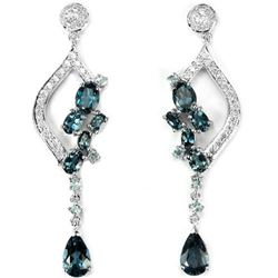 Natural London Blue Topaz 75 Carats Earrings