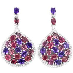 Natural RUBY AMETHYST RHODOLITE Garnet Earrings
