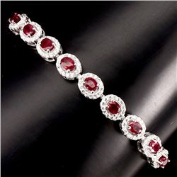 Natural Oval 4x3mm Top Blood Red Ruby Bracelet
