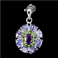 Natural Tanzanite Amethyst Chrome Diopside Pendant