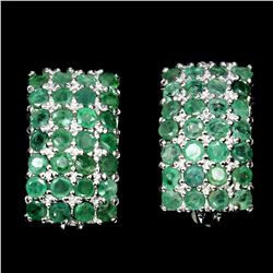 Natural Top Rich Green Emerald Earrings