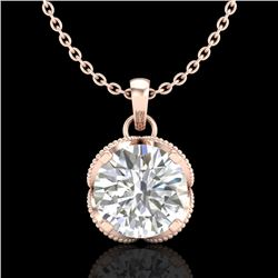 1.13 CTW VS/SI Diamond Solitaire Art Deco Stud Necklace 18K Rose Gold - REF-217F3N - 36864