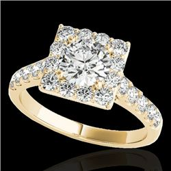 2 CTW H-SI/I Certified Diamond Solitaire Halo Ring 10K Yellow Gold - REF-210F9N - 34134