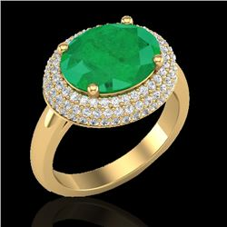 4.50 CTW Emerald & Micro Pave VS/SI Diamond Ring 18K Yellow Gold - REF-119W6F - 20914