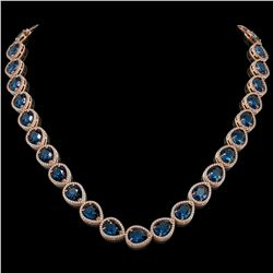44.8 CTW London Topaz & Diamond Halo Necklace 10K Rose Gold - REF-625X3T - 41223