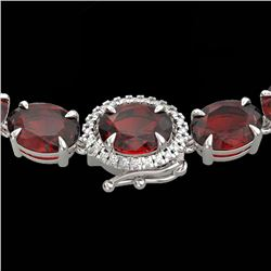 80 CTW Garnet & VS/SI Diamond Eternity Tennis Micro Halo Necklace 14K White Gold - REF-236M4H - 2346