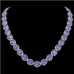 44.8 CTW Tanzanite & Diamond Halo Necklace 10K White Gold - REF-1134K9W - 41195