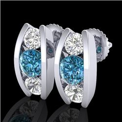 2.18 CTW Fancy Intense Blue Diamond Art Deco Stud Earrings 18K White Gold - REF-254K5W - 37768