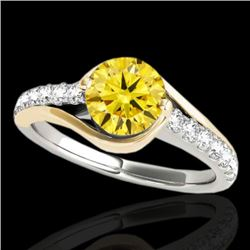 1.25 CTW Certified Si Intense Yellow Diamond Solitaire Ring 10K White & Yellow Gold - REF-156T2M - 3