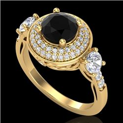 2.05 CTW Fancy Black Diamond Solitaire Art Deco 3 Stone Ring 18K Yellow Gold - REF-180H2A - 38145
