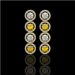5.50 CTW Canary Yellow & White Diamond Designer Earrings 18K Yellow Gold - REF-789H5A - 42604