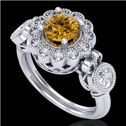 1.5 CTW Intense Fancy Yellow Diamond Art Deco 3 Stone Ring 18K White Gold - REF-309K3W - 37854