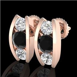 2.18 CTW Fancy Black Diamond Solitaire Art Deco Stud Earrings 18K Rose Gold - REF-180N2Y - 37766