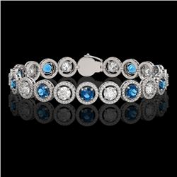 13.56 CTW Blue & White Diamond Designer Bracelet 18K White Gold - REF-3235A5X - 42590
