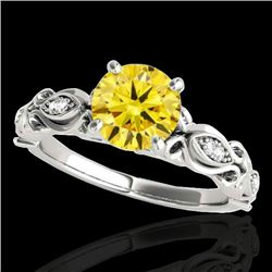 1.1 CTW Certified Si Intense Yellow Diamond Solitaire Antique Ring 10K White Gold - REF-156T4M - 346