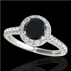1.7 CTW Certified VS Black Diamond Solitaire Halo Ring 10K White Gold - REF-75Y3K - 33592