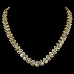 34.83 CTW Pear Diamond Designer Necklace 18K Yellow Gold - REF-6349X3T - 42769