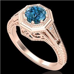 0.84 CTW Fancy Intense Blue Diamond Solitaire Art Deco Ring 18K Rose Gold - REF-161F8N - 37930