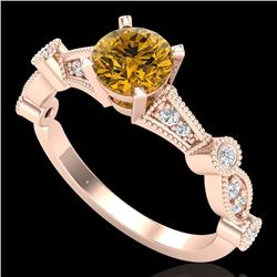 1.03 CTW Intense Fancy Yellow Diamond Engagement Art Deco Ring 18K Rose Gold - REF-121H8A - 37680