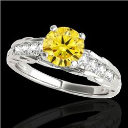 1.2 CTW Certified Si/I Fancy Intense Yellow Diamond Solitaire Ring 10K White Gold - REF-158W2F - 349