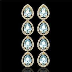 10.56 CTW Aquamarine & Diamond Halo Earrings 10K Yellow Gold - REF-228M8H - 41308