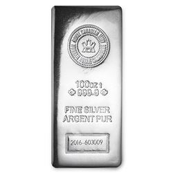 One piece 100 oz 0.999 Fine Silver Bar Royal Canadian Mint-97758