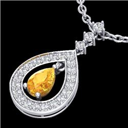 1.15 CTW Citrine & Micro Pave VS/SI Diamond Necklace Designer 14K White Gold - REF-61W3F - 23163