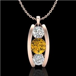 1.07 CTW Intense Fancy Yellow Diamond Art Deco Stud Necklace 18K Rose Gold - REF-136A4X - 37778