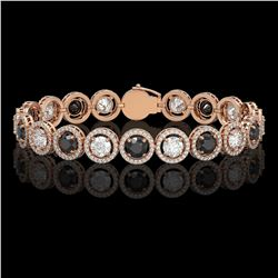 13.96 CTW Black & White Diamond Designer Bracelet 18K Rose Gold - REF-1428X2T - 42609