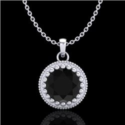 1 CTW Fancy Black Diamond Solitaire Art Deco Stud Necklace 18K White Gold - REF-50H9A - 37485