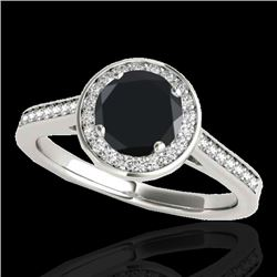 1.33 CTW Certified VS Black Diamond Solitaire Halo Ring 10K White Gold - REF-68F9N - 33511
