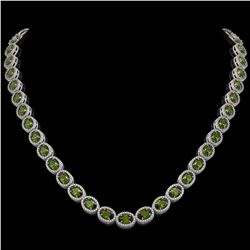 31.1 CTW Tourmaline & Diamond Halo Necklace 10K White Gold - REF-600Y2K - 40421