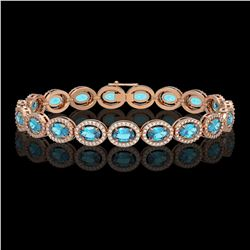 14.82 CTW Swiss Topaz & Diamond Halo Bracelet 10K Rose Gold - REF-230X4T - 40485
