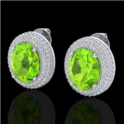 9 CTW Peridot & Micro Pave VS/SI Diamond Earrings 18K White Gold - REF-186W8F - 20230