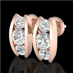 2.18 CTW VS/SI Diamond Solitaire Art Deco Stud Earrings 18K Rose Gold - REF-300A2X - 37011