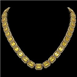 77.35 CTW Fancy Citrine & Diamond Halo Necklace 10K Yellow Gold - REF-737Y3K - 41518