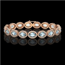 18.38 CTW Aquamarine & Diamond Halo Bracelet 10K Rose Gold - REF-320N9Y - 40626